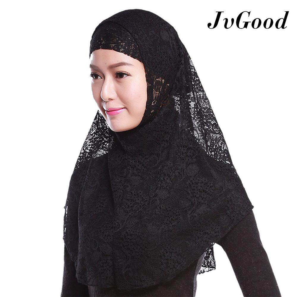 JvGood Instant Muslim Tudung Full Cover Inner Hijab Muslim Lace Amira Solid Color 2-piece Lace Inners Hijab Muslim Hijab Head Cover Hijab Scarf
