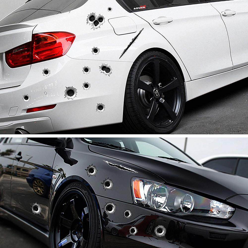 3d bullet hole funny decals auto motorcycle decoration sticker car styling