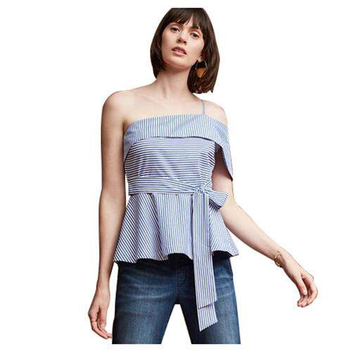 Women's New Fashion Sexy Stripe Off Shoulder Blouse Shirt Summer Cute Slash Neck Tops Shirts Ladies Blue Bow Ruffle Waist Slim Blouses(Blue,XL/US-10/UK-14)