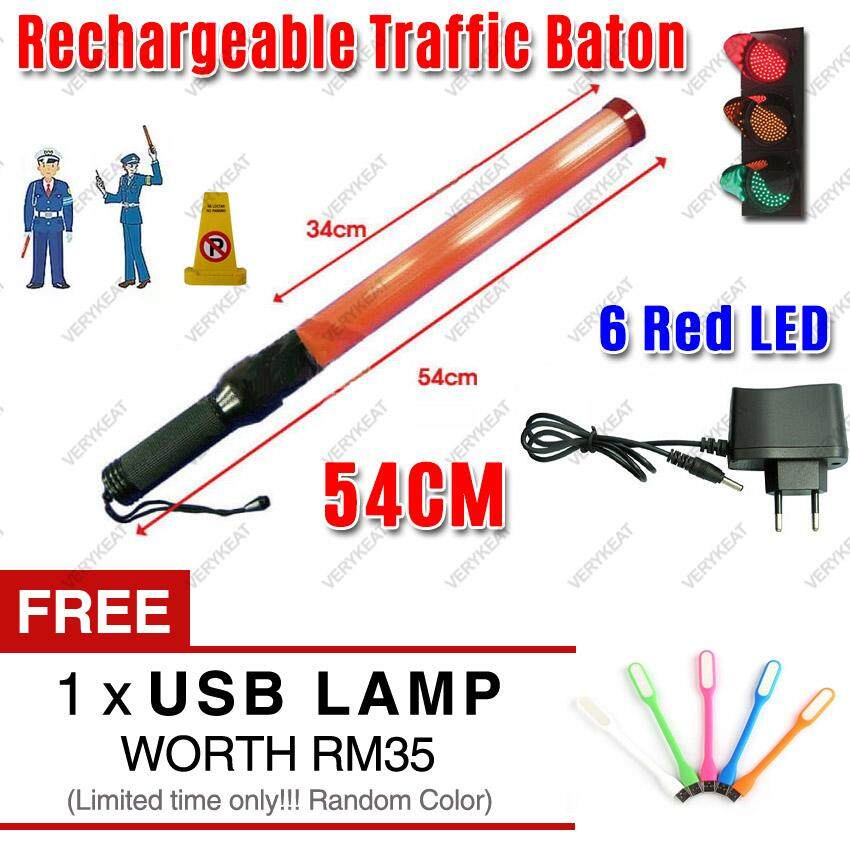 【READY STOCK - LOCAL SELLER - FAST DELIVERY】 54CM Red LED Emergency Waterproof Traffic Light Rechargeable Stick