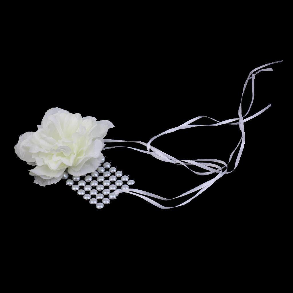 GuangquanStrade Pearls Ribbon Wedding Wrist Corsage Bracelet Bridesmaid Sisters Hand Flowers