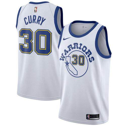 Nike Asli Pria Golden State Warriors Stephen Curry 30 Putih Fashion Pemain  Saat Ini Kayu Klasik 9d5654689