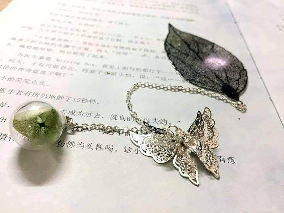 Silver Leaves Bookmark With Butterfly and Green Flower