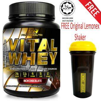 Vital Whey Halal 1kg/2.2lbs, Whey Isolate With 24g Protein, 33 Servings - Fast Muscle Recovery (Chocolate Milkshake) + FREE Original Lemonex Shaker