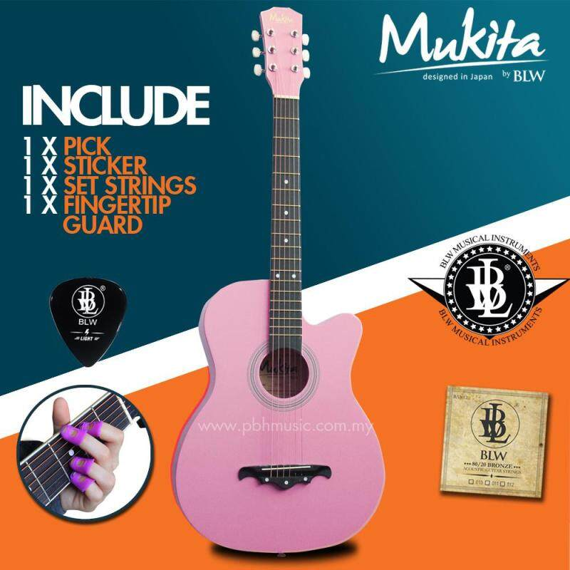 Mukita by BLW Standard Acoustic Folk Cutaway Basic Guitar Package 38 Inch for beginners with String Set, Fingertip Guard, Pick and Merchandise Sticker (Pink) Malaysia