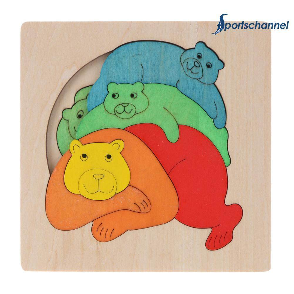 Colorful Bear Multi-Layer Wooden Puzzle Jigsaw Children Kids Educational Learning Toy By Sportschannel.
