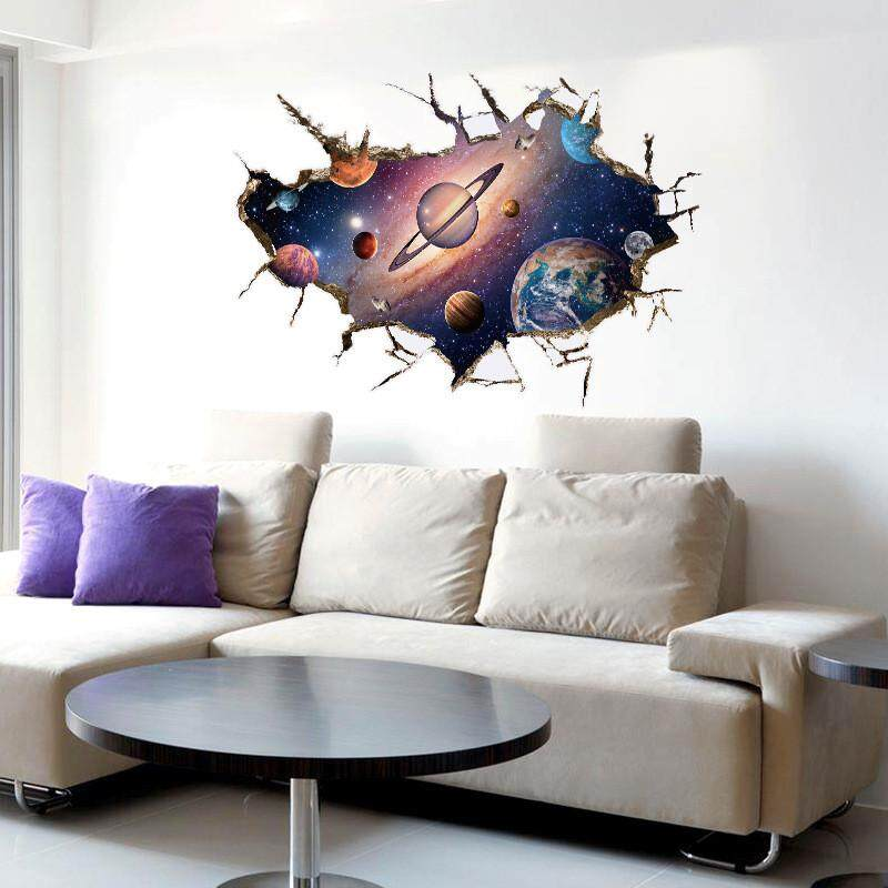 DIY 3D Amazing Cosmos Outer Space Planet Wall Stickers For Kids Room Beatiful Galaxy Sticker Home