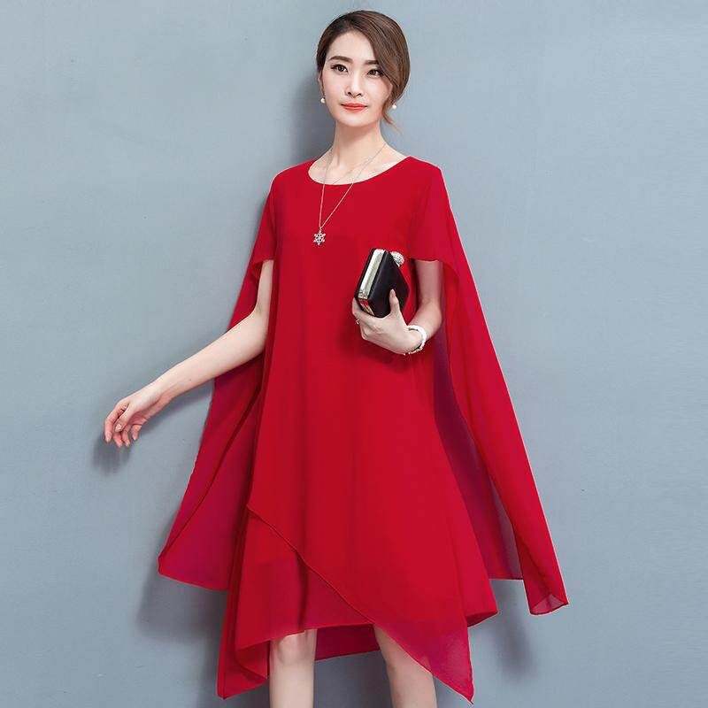 4b36899b551 ... Dresses. New Elegant O-neck Plus Size Chiffon Loose Irreguarl A-line Big  Swing Midi