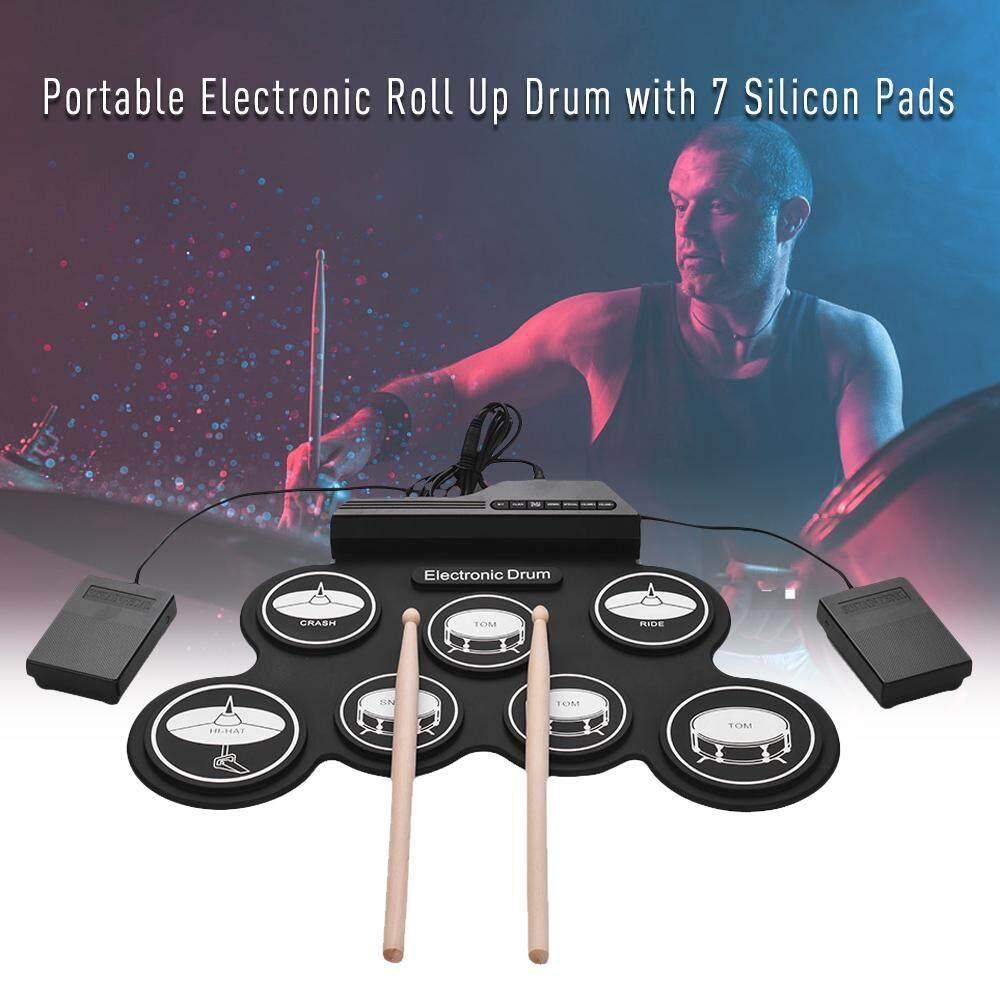 Bộ Trống Silicon CuộN USB Kích Thước Nhỏ Gọn, Bộ Trống Điện Tử Kỹ Thuật Số 7 Trống Kèm Dùi Trống Bàn Đạp Chân Cho Trẻ Em Mới Bắt Đầu Khuyến Mại Hot