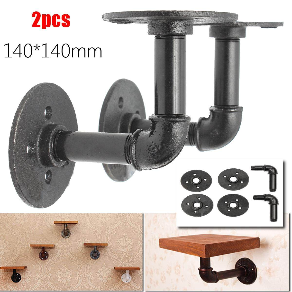 2pcs Steampunk Industrial Iron 3/4 Pipe Shelf Bracket Holder Retro Styles