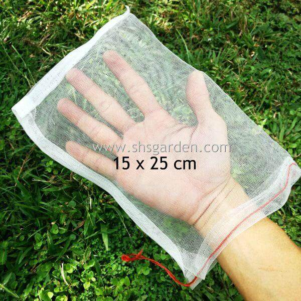 Garden Fruit Net (15cm x 25cm) Nylon Mesh Bag Protect from Pests Insects Caterpillars Beetles Birds Squirrel Monkey Pest Control (SHS Kebun)