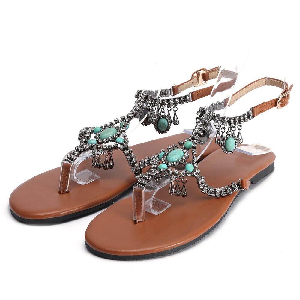 d0f6e2e4f Shoes for Women Girls New Casual Bohemian National Wind Comfortable Beaded  Pin Flat Sexy Women s Sandals