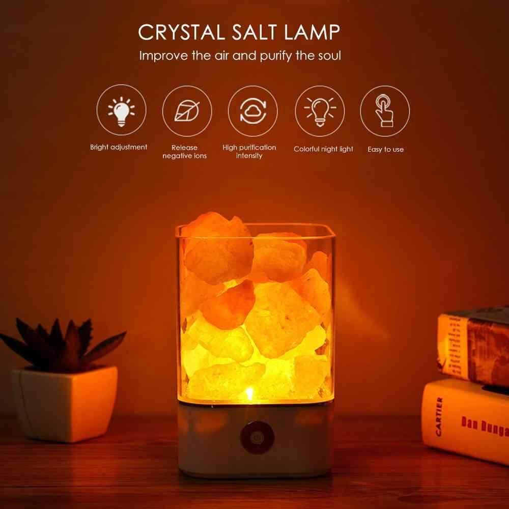 Yuero USB Crystal Light natural himalayan salt lamp led Lamp Air Purifier Mood Creator Indoor warm light table lamp bedroom lava lamp