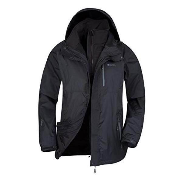 Mountain Warehouse Bracken Extreme 3in1 Mens Jacket –Durable Raincoat Black X-Large - intl