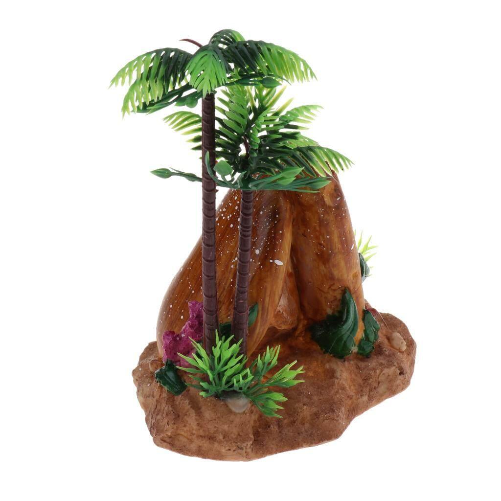 BolehDeals Mini Resin Plastic Artificial Coconut Palm Tree Aquarium Plants Ornament #2