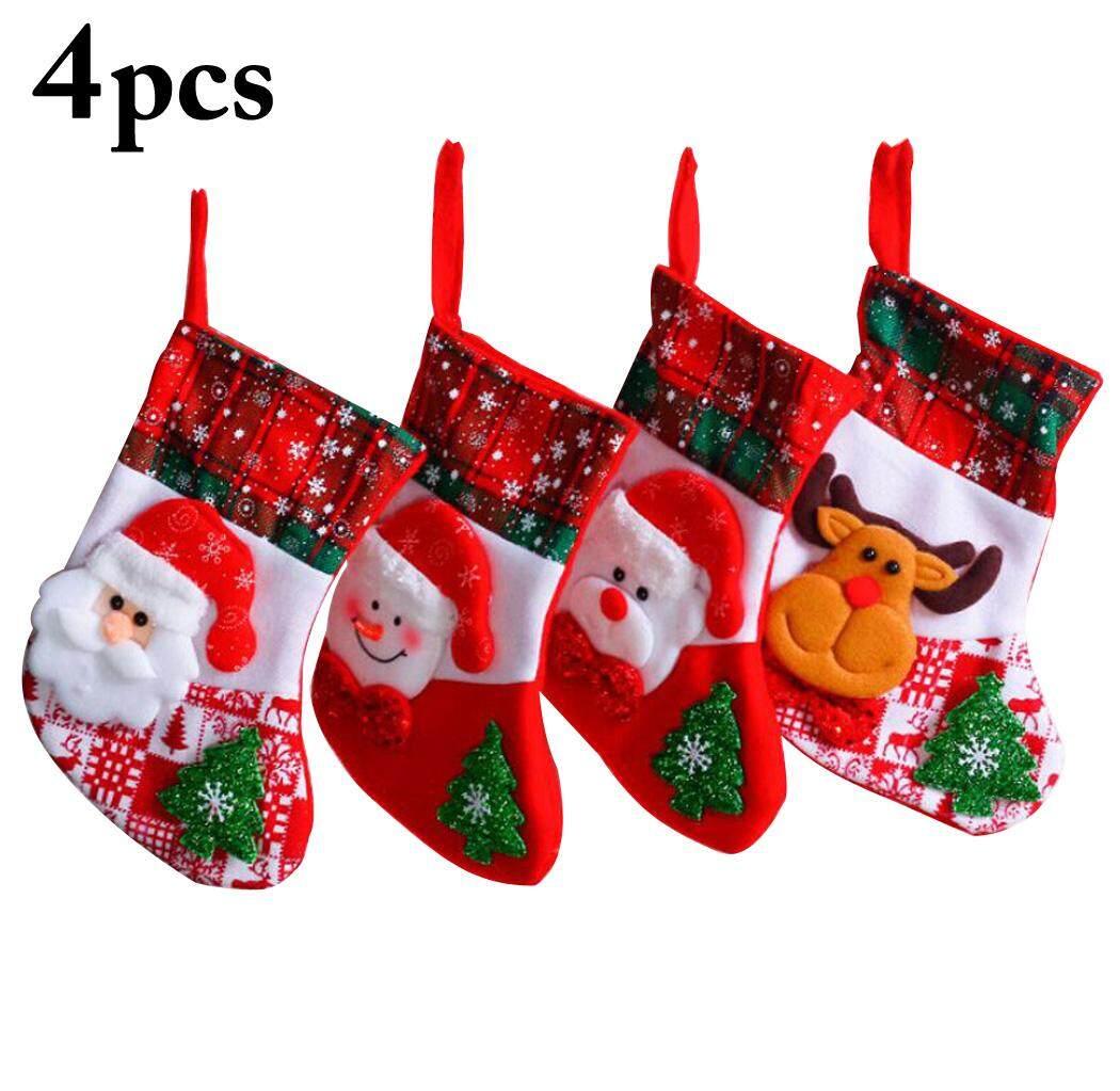 4PCS Christmas Stocking Decorative Gift Bag Hanging Stocking for Xmas Tree