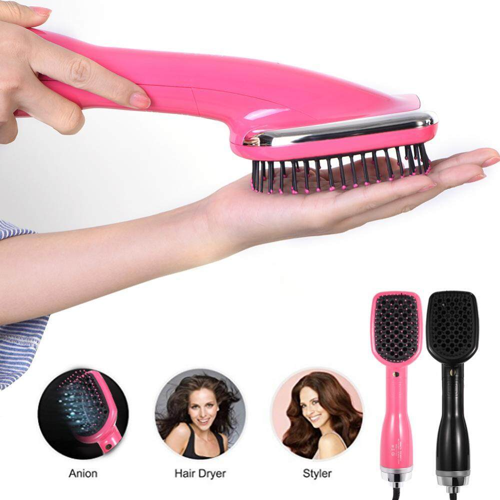 Fitur 2 In 1 Hair Dryer Styler Hot Air Comb Paddle Brush Curly Sisir Straightener Negative Ion Black
