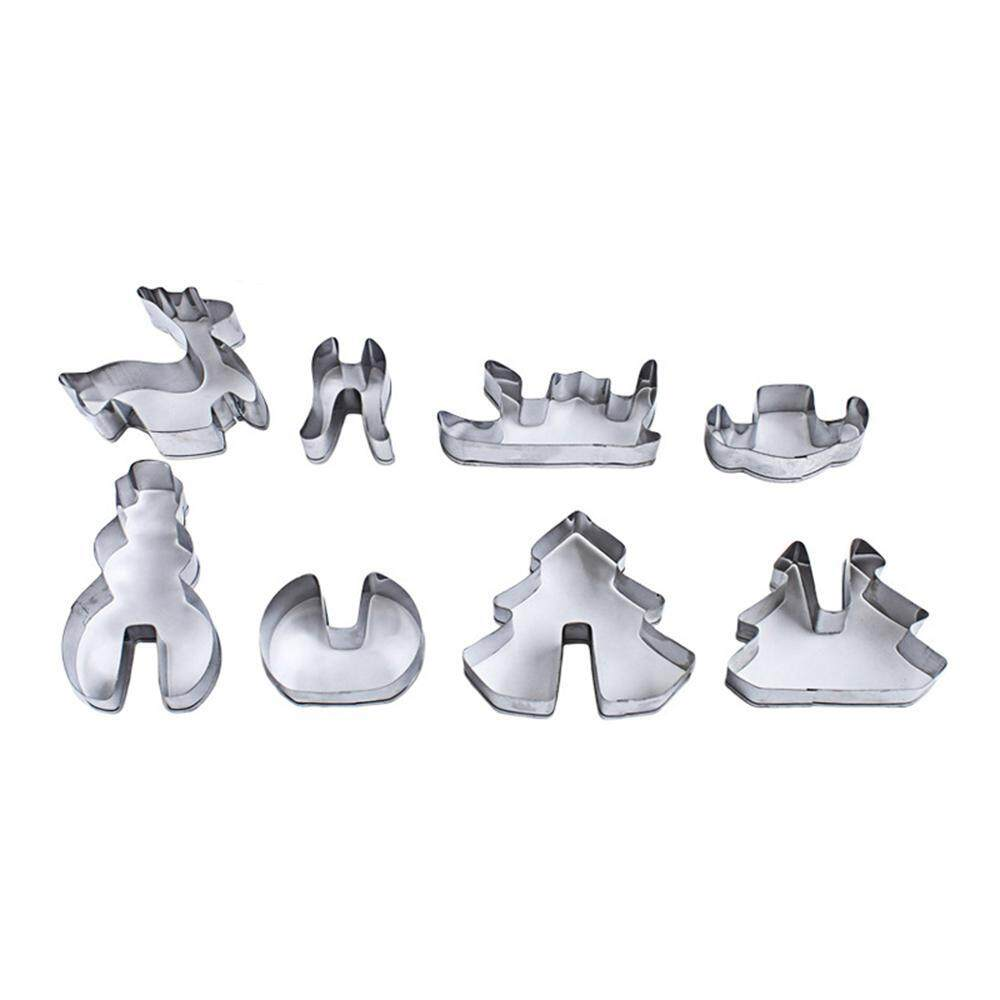 GoodGreat 8pcs Christmas Cookie Cutter Set, Food Grade Stainless Steel Biscuit Mold Set-Christmas tree, Snowman, Deer & Sled Shapes Decorating Mold DIY Tools