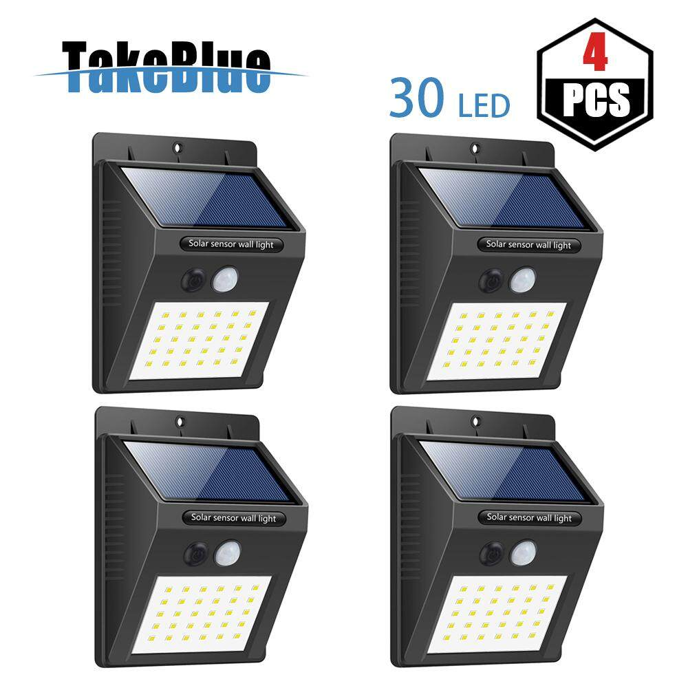 TakeBlue 30 LED Solar Lights Outdoor , 3 Intelligent Modes , Waterproof Solar Powered Motion Sensor Light Wireless Security Lights Outside Wall Lamp for Driveway Patio Garden Path 4 Pack