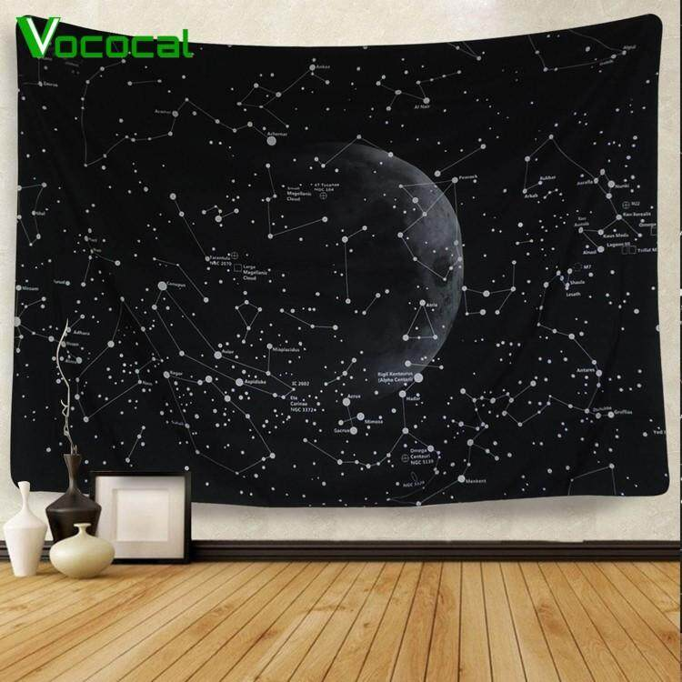 Vintage Moon Star Sky Planet Galaxy Home Wall Decor Tapestry Wall Hanging Headboard Blanket Carpet 150 X 130cm Black By Vococal Shop.