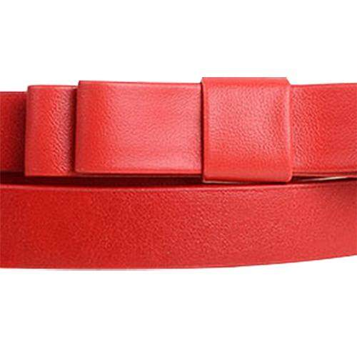Detail Gambar Red Candy Color Sweety and Lovely Double Layered Bowknot Embellish Belt For Female - intl Terbaru
