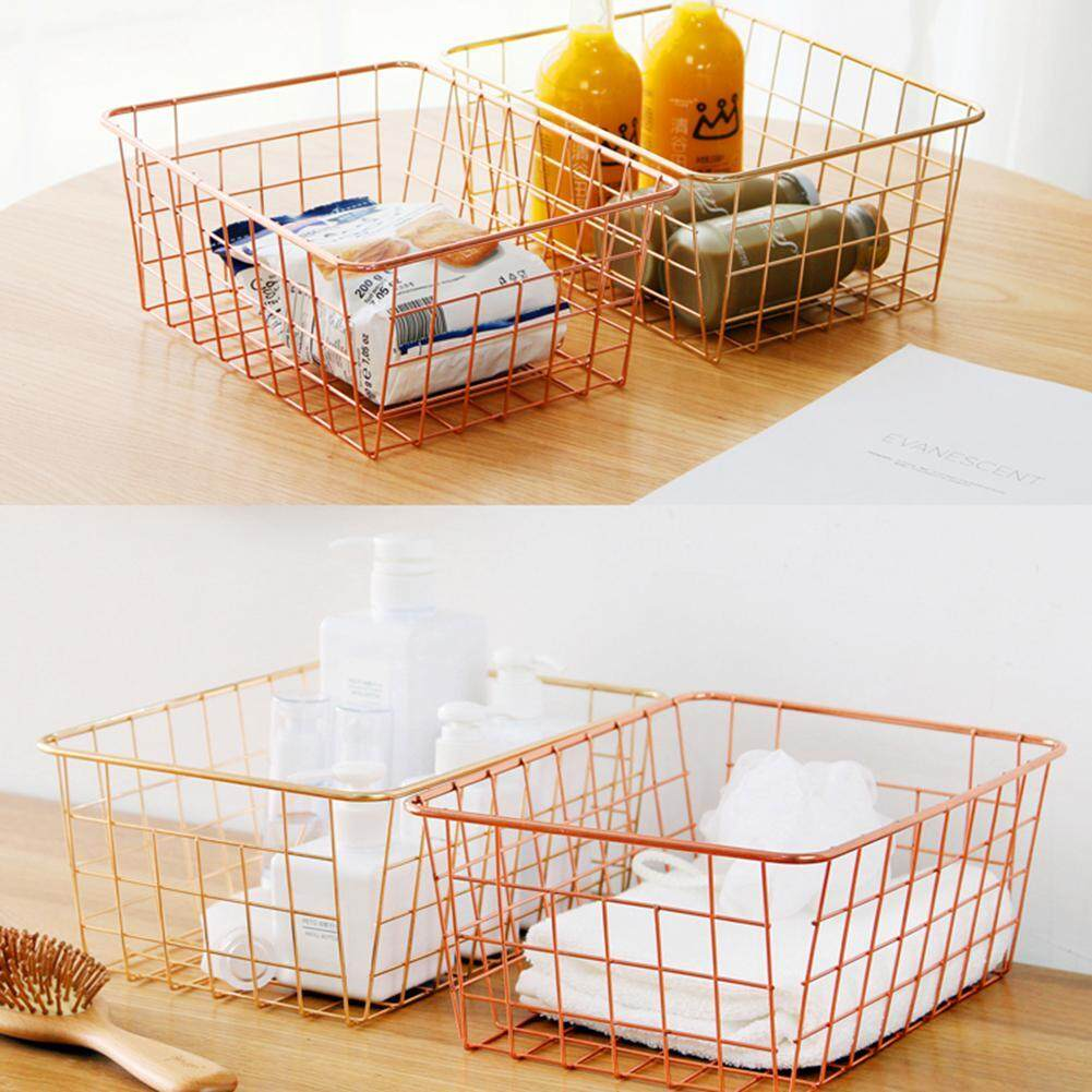 Treeone Sturdy Small Wire Storage Basket with Kitchen Food Pantry Papers Home Office Desk Shelf Bathroom Laundry Room Shelf Bedroom Bed Room