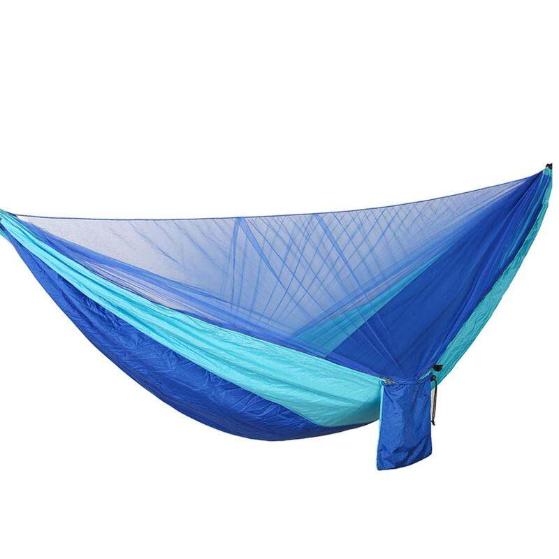 Portable Outdoor Hanging Swing Double Hammock Bed with Pop-up Mosquito Net for Camping Backpacking Hiking Travel 114 x 55 Inch Blue