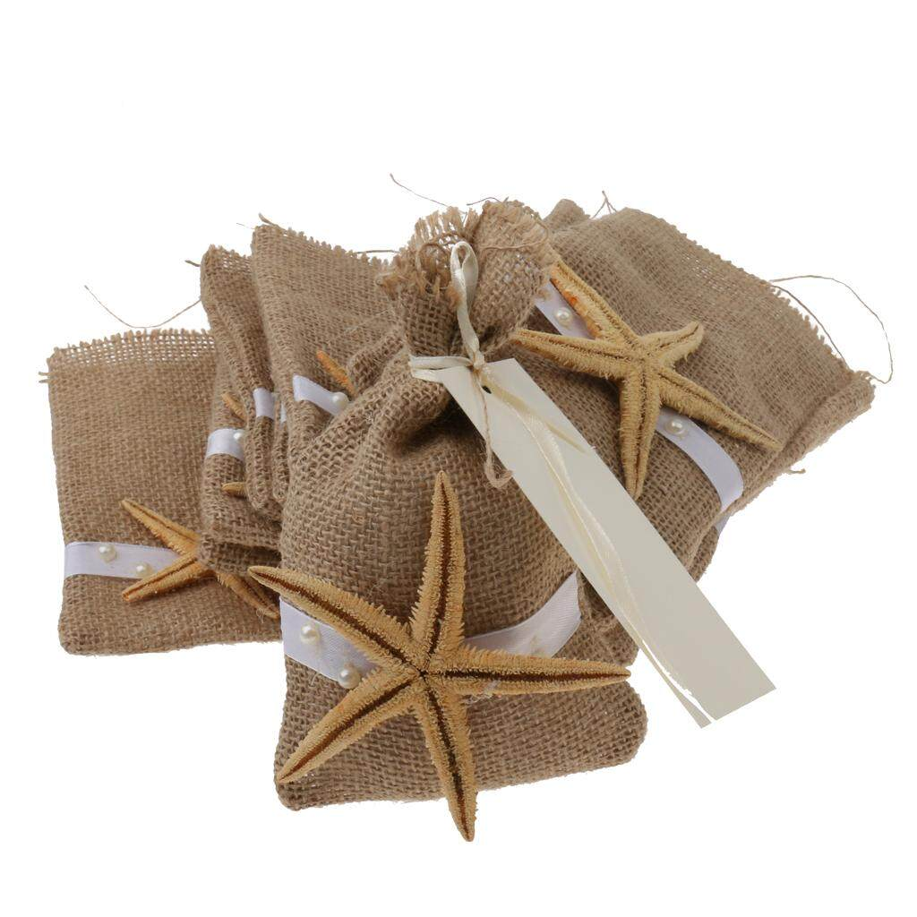GuangquanStrade 12 x Vintage Rustic Burlap Starfish Pouch Gift Bag w/ Ribbons Wedding Favors