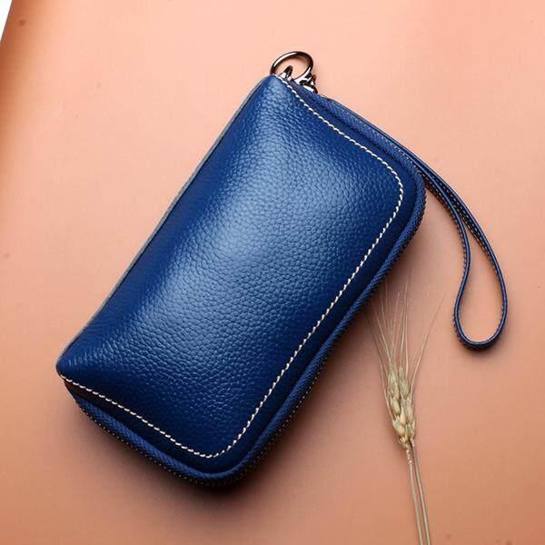 Women Genuine Leather Zipper Long Purse Card Holder Phone Bag Fits 5.5 inch Cellphones
