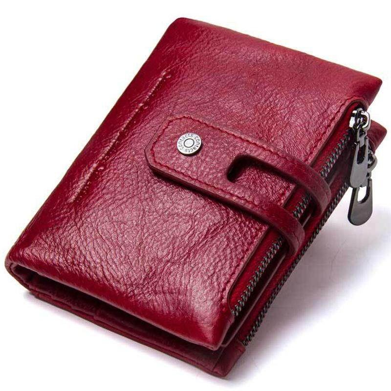✅High Quality Womens Wallet,CONTACTS Minimalist Vintage Cowhide Genuine Leather Wallet With Double Zipper pocket- Best Gift for Women By Convinent Store