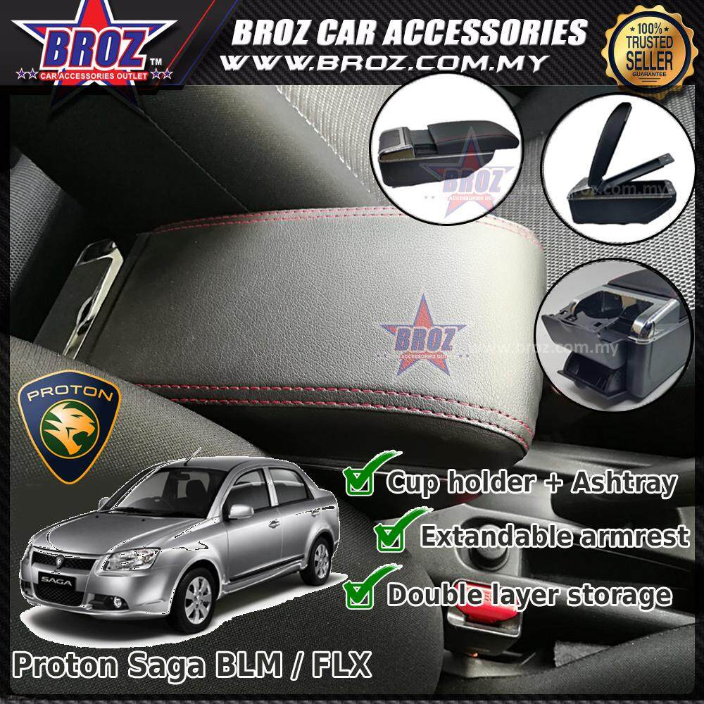 Proton Saga BLM PVC Adjustable Armrest Center Console Box Black Leather