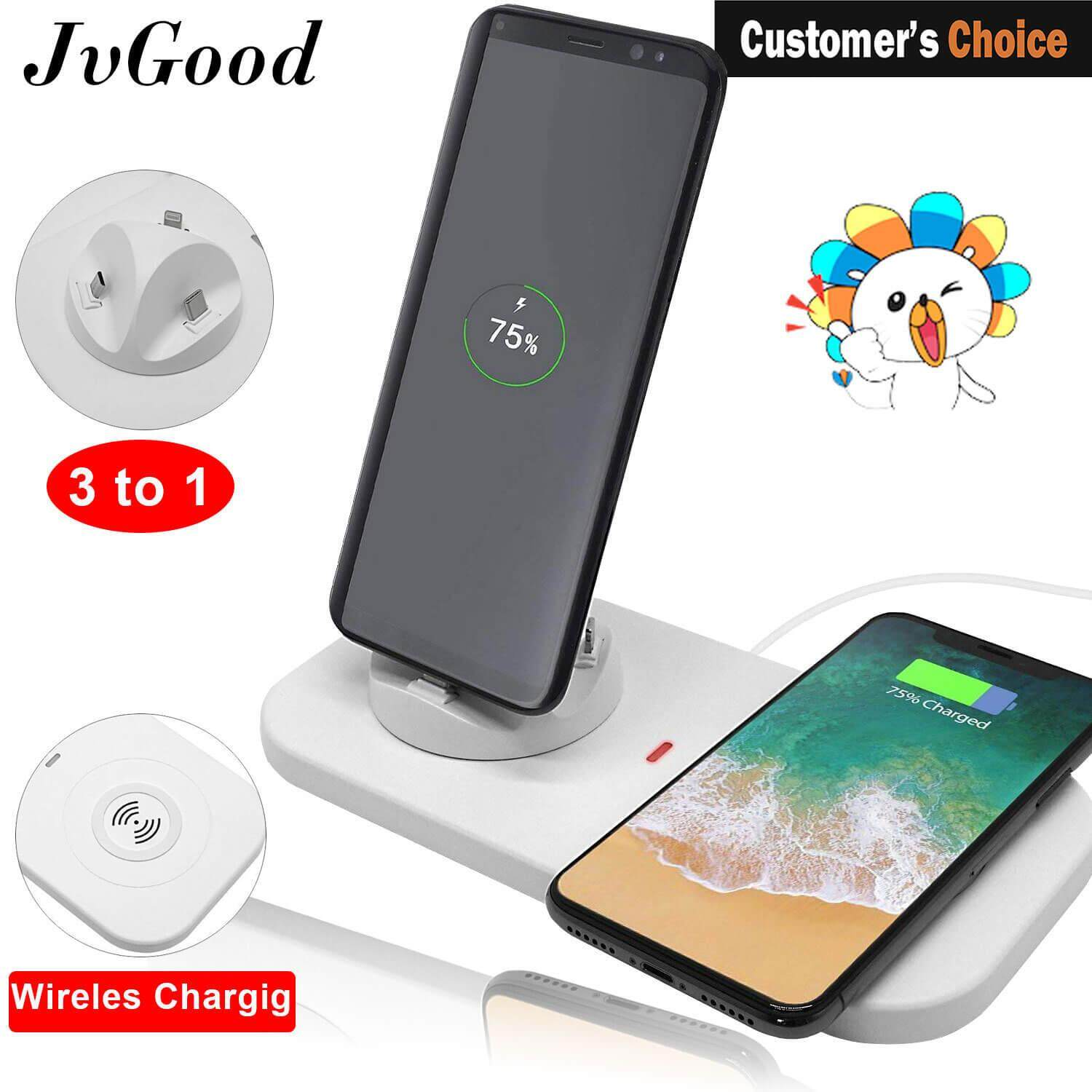 JvGood Pengisian Station Cellphone Charging Station Dock Stand 3 in 1 Multiple Phone Charger Phone Charging