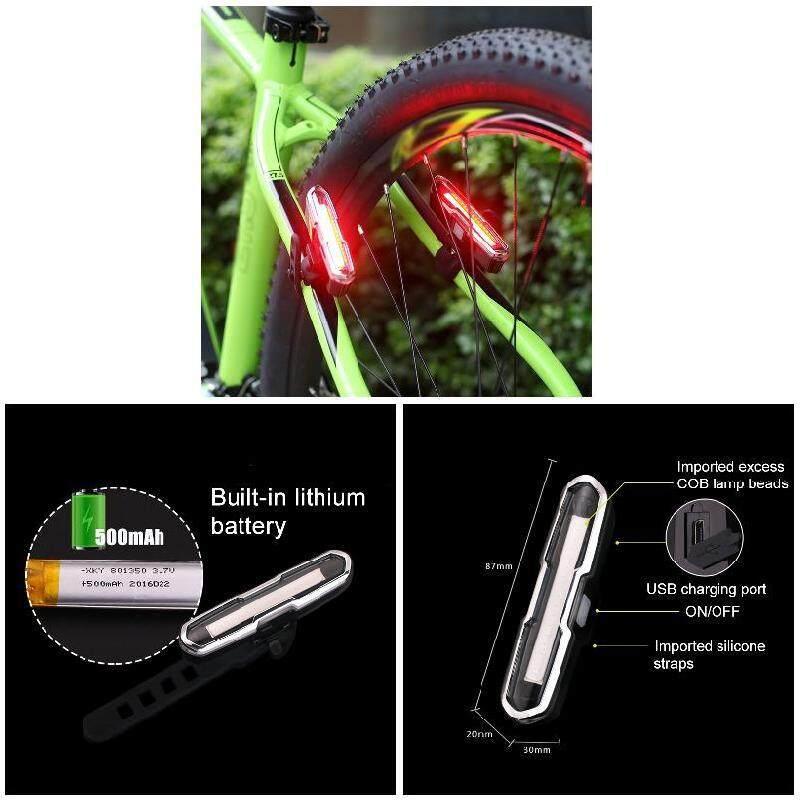 ... B-F Lampu Sepeda LED USB Isi Ulang Belakang Lampu Belakang Gunung Bersepeda Lampu Depan Keamanan (