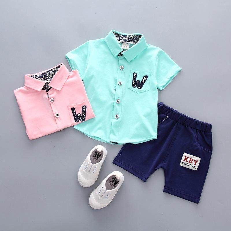 SoonYip New 2018 Summer Baby Clothes Set For Boys Cartoon W Letter Printing Shirt Kids Short
