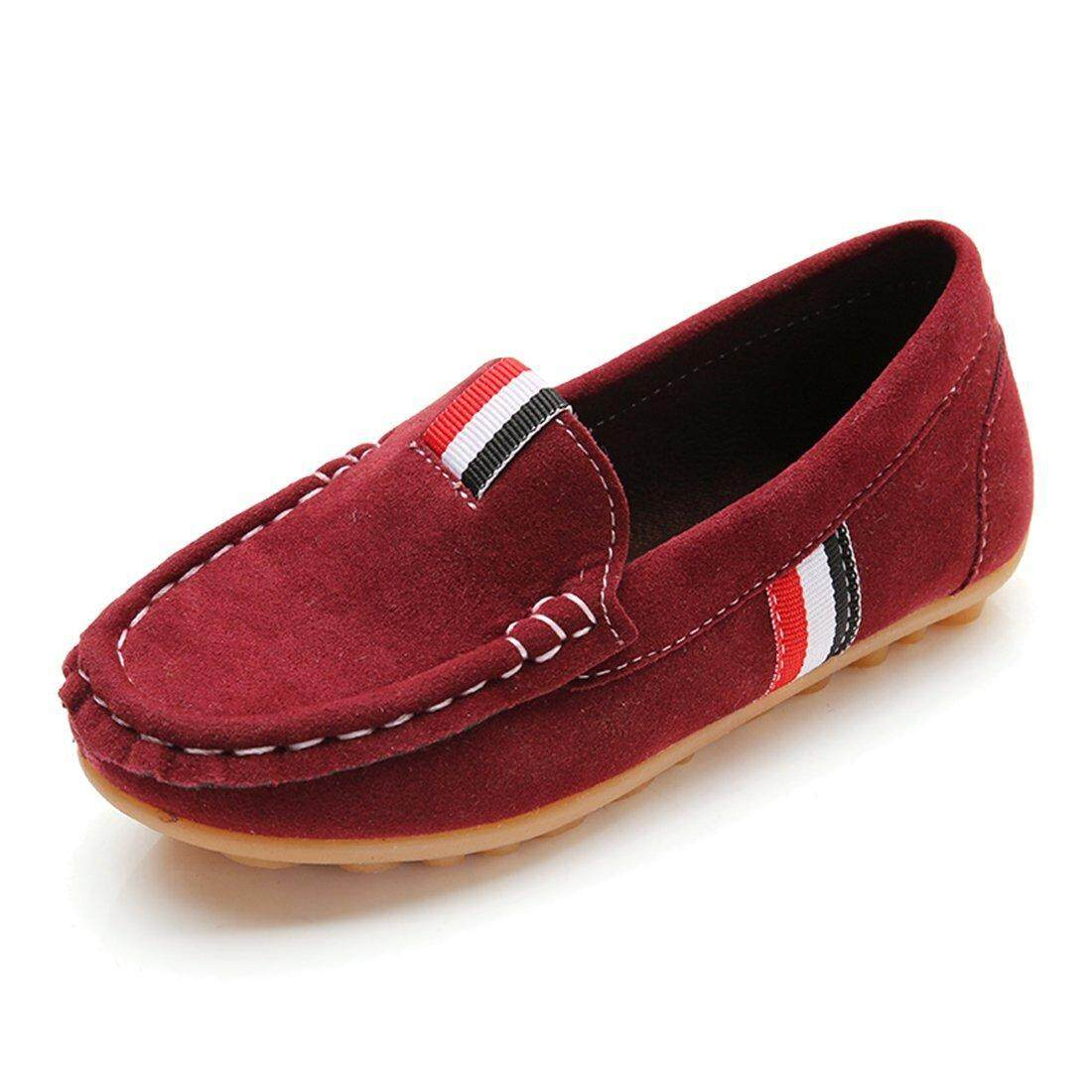 Girls' Boys' Kids Cute Suede Leather Slip-On Loafers Flats Casual Shoes - intl