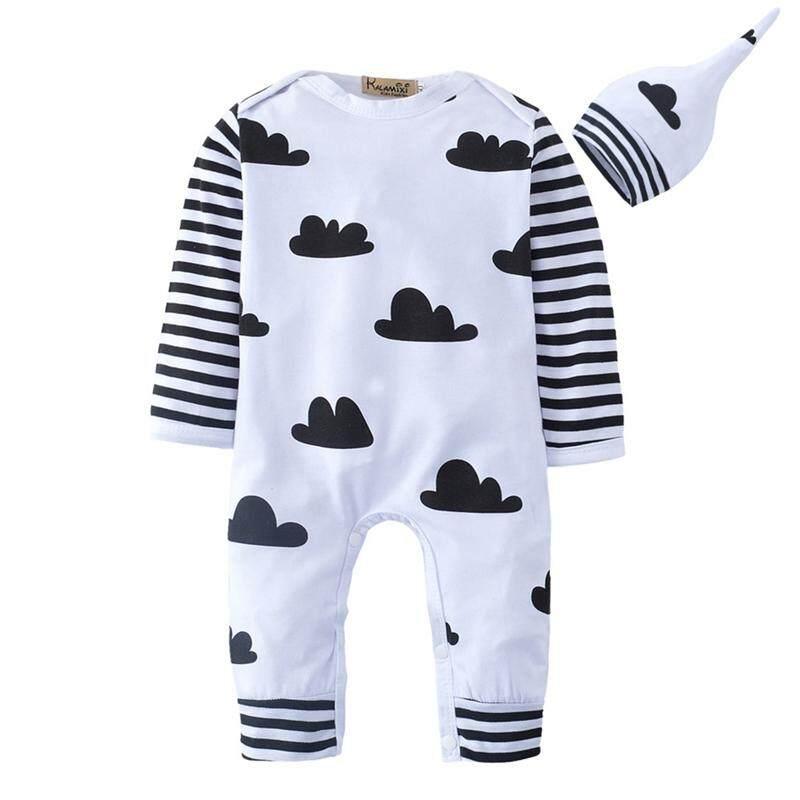 2 Pcs Linfang Children Lovely Cloud Printing Cotton Cap Long Sleeve Jumpsuit Romper