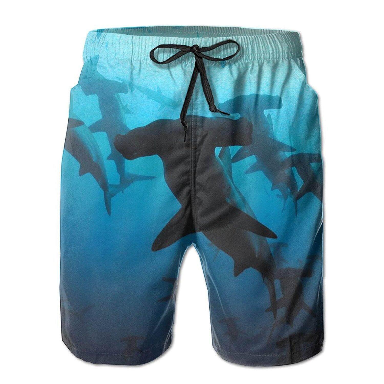 Bayi Hiu Martil Pria/Celana Pendek Kasual Anak Laki-laki Celana Renang Baju Renang Pinggang Elastis Celana Pantai dengan Saku-Internasional