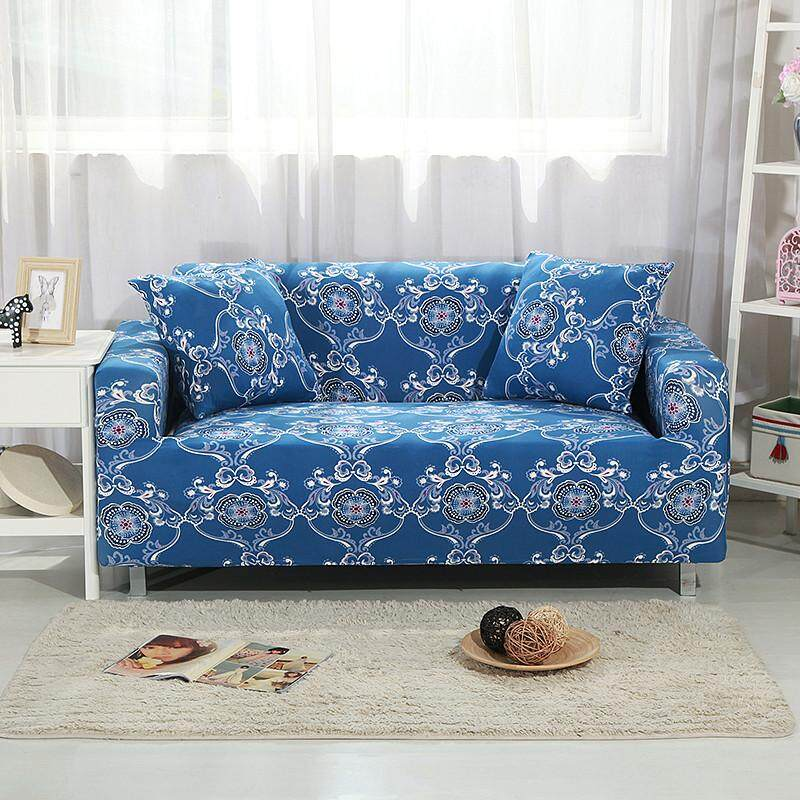 (3 Seater) Hot Selling Fashion Printed Sofa Covers Spandex High Stretch Sofa Slipcovers Free 1 Cushion Cover