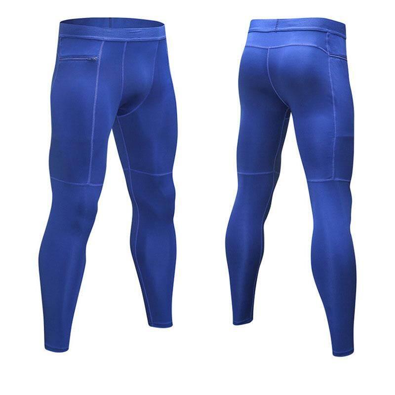 Detail Gambar Wjkfgi Fashion Pria Celana Panjang Kebugaran Olahraga Lari Saku Ritsleting Tinggi Celana Ketat Elastis