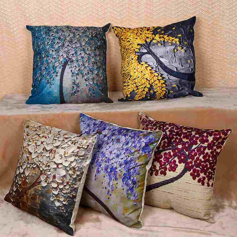 Yuero 6pc/set Home Decorative Pillowcase Cotton Linen Sofa Cushion Throw Pillow Cover Life Tree Plants Pattern 45*45cm By Yuero.