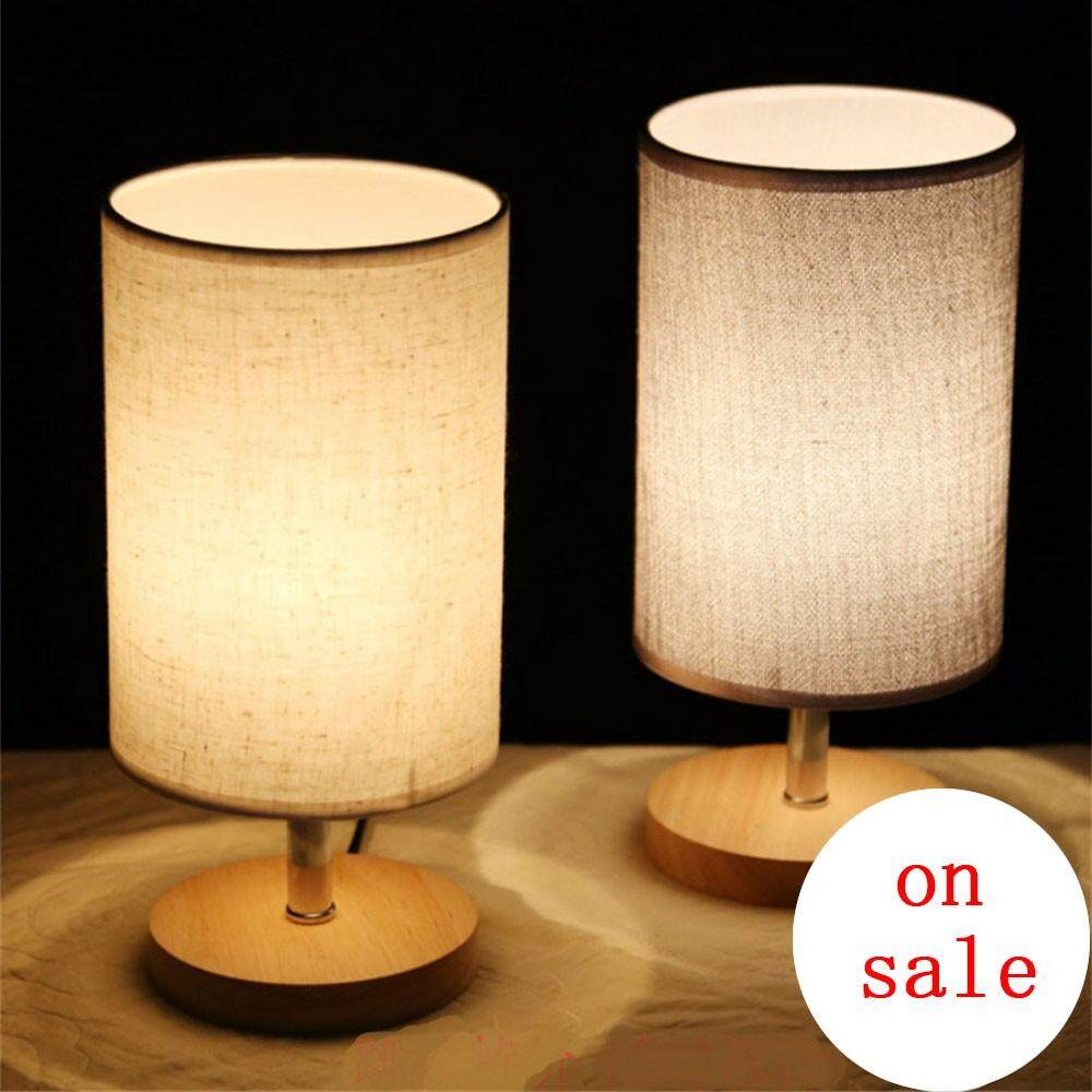 Modern Fashion Simple 5 Colors Fabric Wood Led E27 Dimmer Table Lamp For Bedroom Bedside Bar Deco Light 80-265V 0-5W - intl