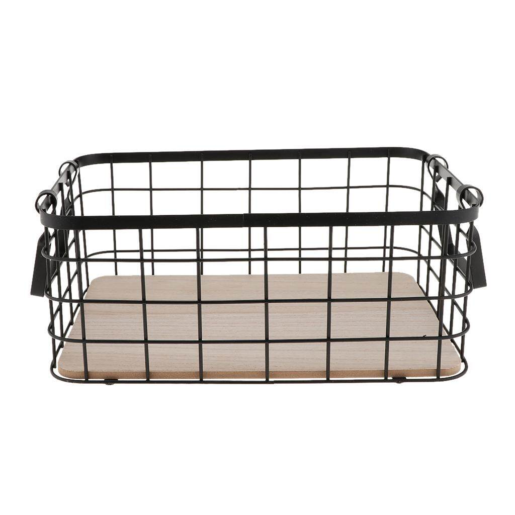 BolehDeals Nordic Wrought Iron Basket With Handle Desktop Grocery Storage Case Metal Portable Picnic Fruit Vegetable Collecting Container