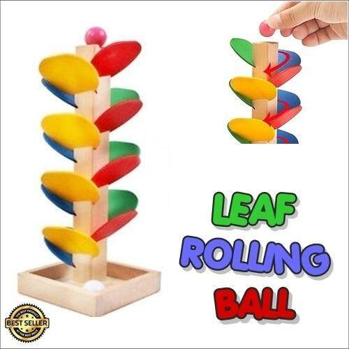 Wooden Leaf Rollling Ball Run Track Game Children Intelligence Educational Toy