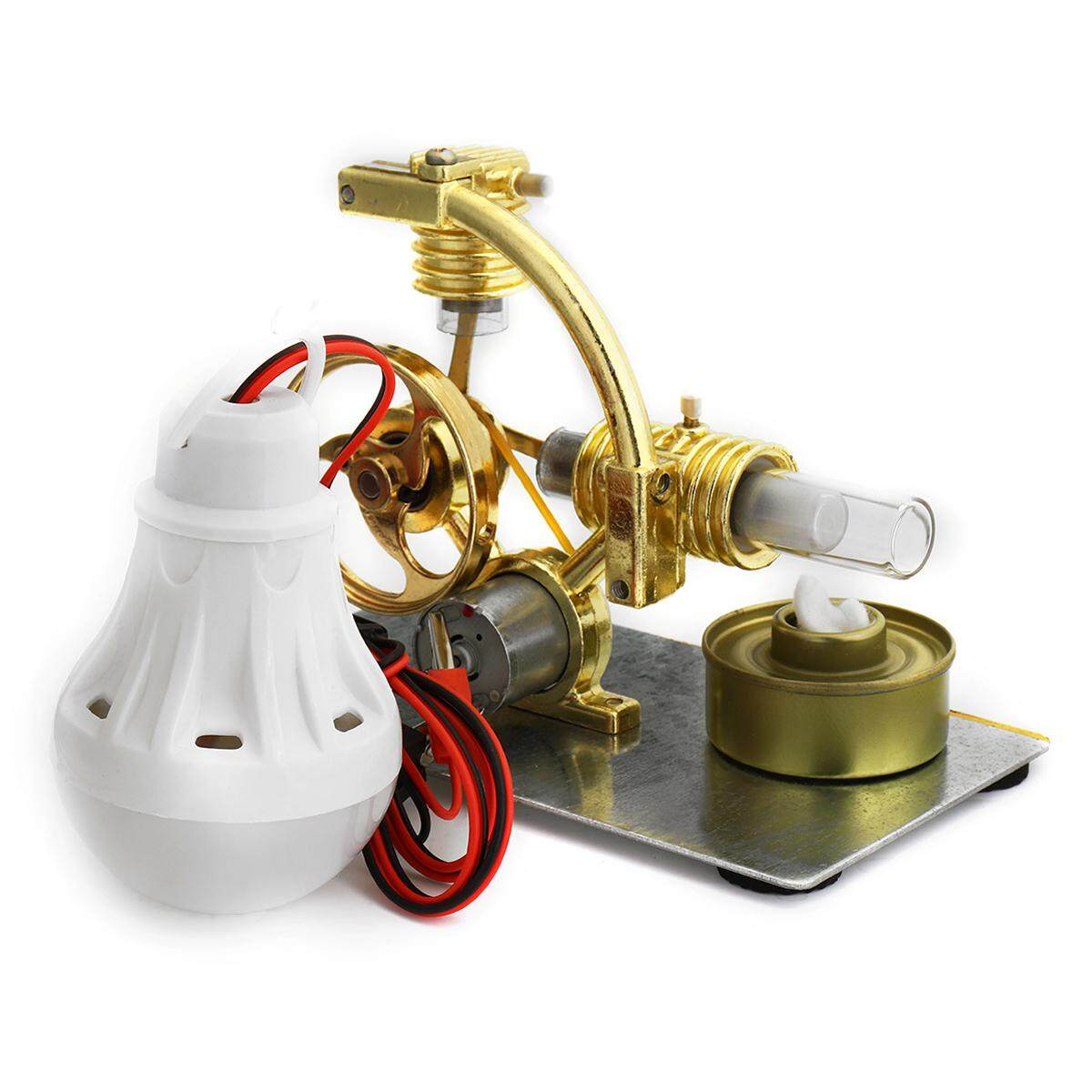 Hot Air Stirling Engine Motor Power Generator Model Educational Kit W/ Led Light By Teamwin.