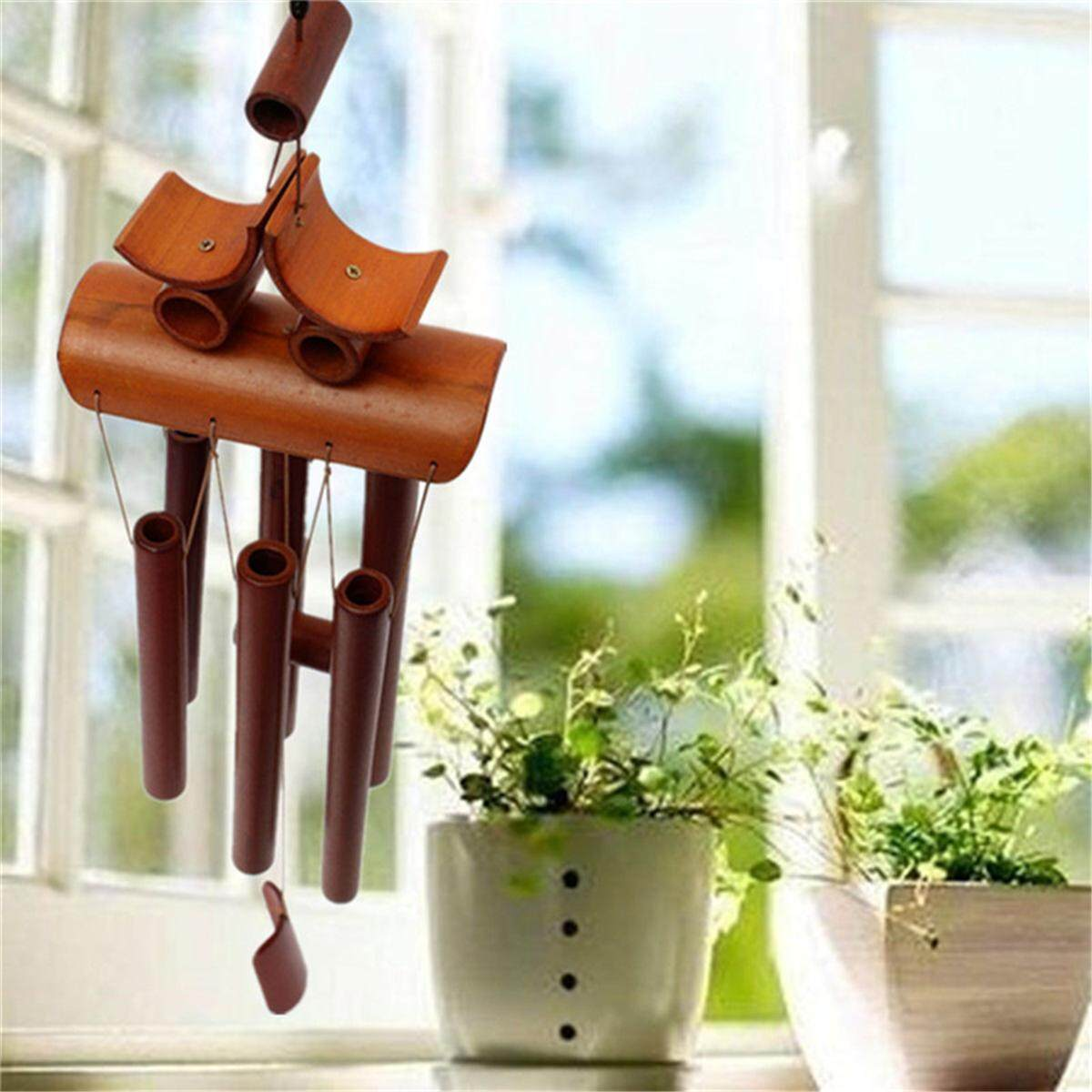Bamboo Wood Wind Chimes Tubes Outdoor-Bells Garden Decoration Happiness Ringings