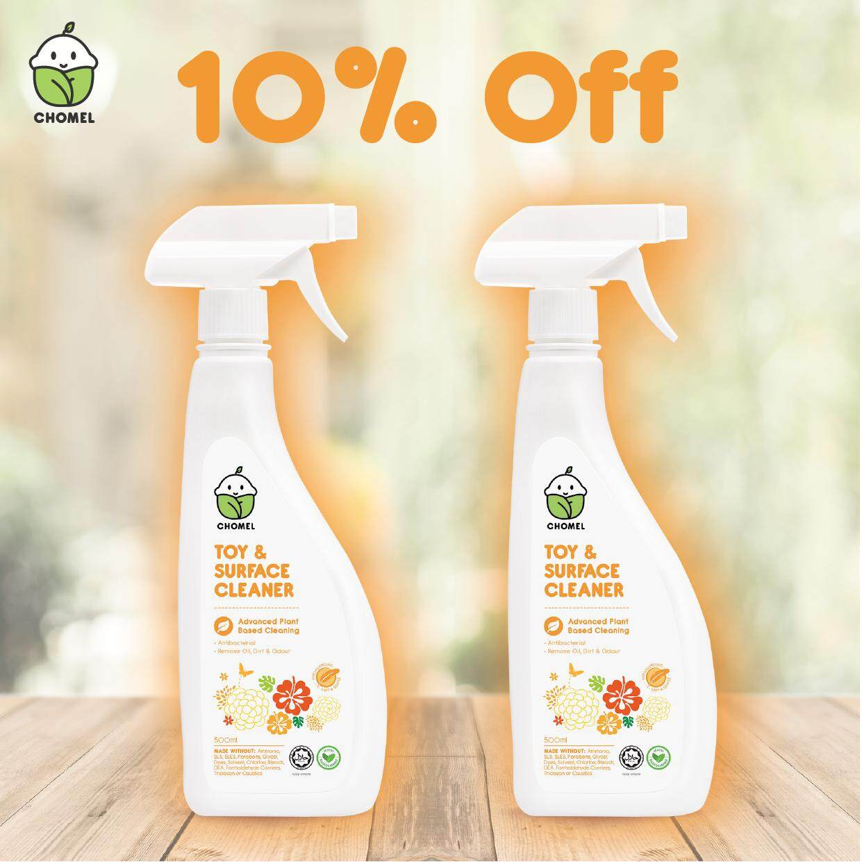 Twinpack CHOMEL Toy & Surface Cleaner Spray 500ml