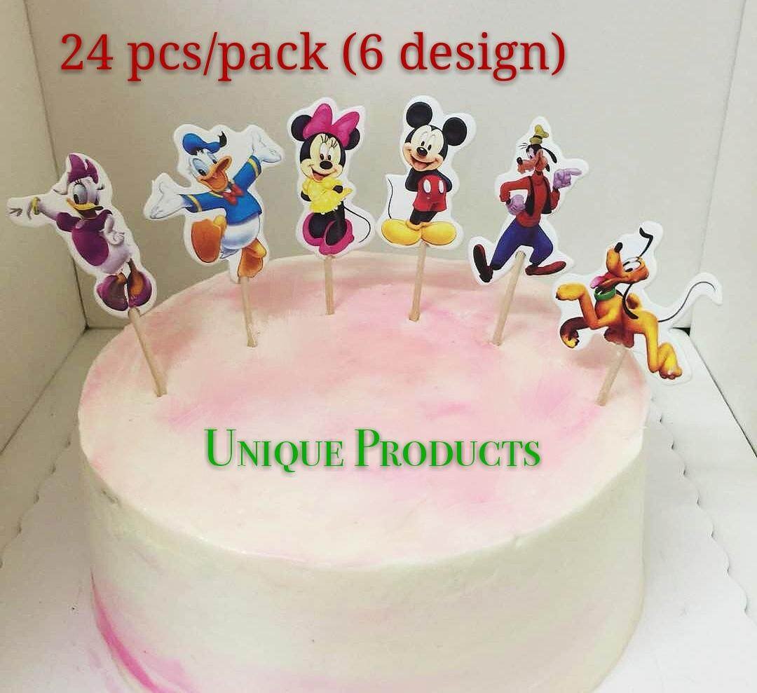 Features Mickey And Family Theme Cartoon Character Cupcake Topper