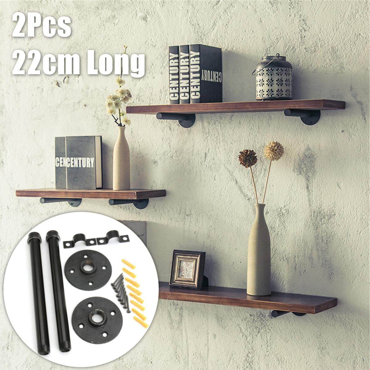 2Pcs 8.7 Industrial Vintage Pipe Wall Shelf Brackets Holder DIY for Steampunk