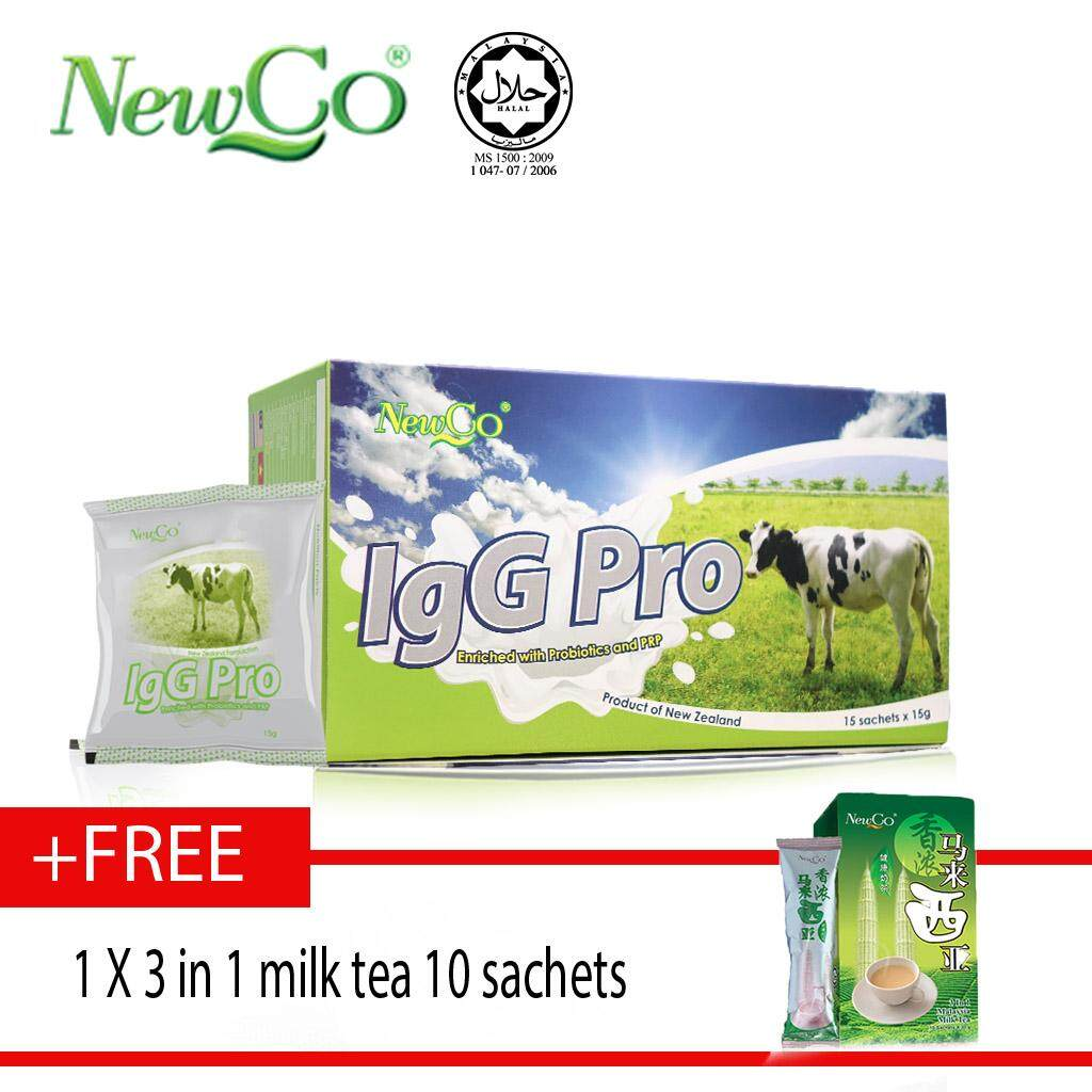Newco IgG Pro Colostrum With Probiotic 15 sachets Free 3 in 1 milk tea