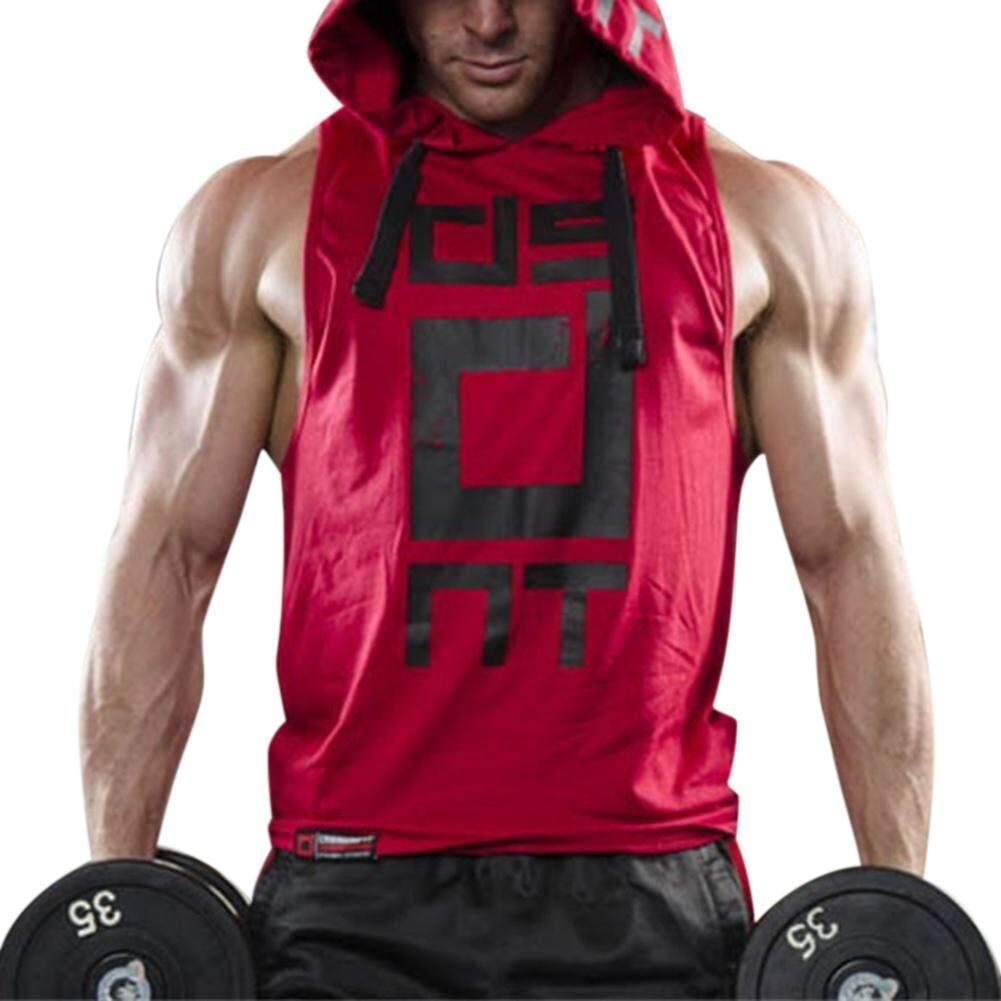 Veecome Pria Berkerudung Rompi Tanpa Lengan Rompi Atasan Pakaian Fitness Pakaian Olahraga By Veecome
